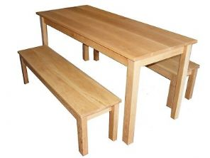 Handmade Solid Oak Table and 2 Benches